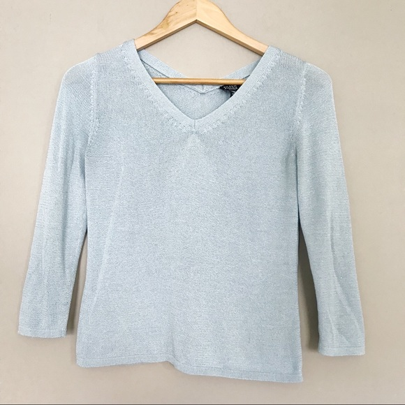 54da13dc566 Eileen Fisher Tops - Eileen Fisher Sky Blue Cotton Nylon Knitted Top PP